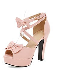 cheap -Women's Shoes PU(Polyurethane) Summer Comfort / Ankle Strap Sandals Walking Shoes Chunky Heel / Platform / Block Heel Peep Toe Bowknot /