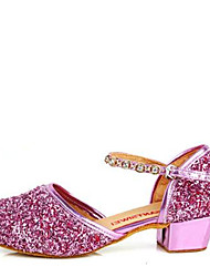 cheap -Latin Kid's Dance Shoes Sandals Paillette Rhinestone Low Heel Gold/Silver/Purple