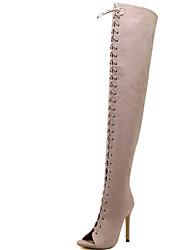 cheap -Women's Boots Spring / Summer / Fall Gladiator Fur Party & Evening / Dress / Casual Stiletto Heel Black / Beige