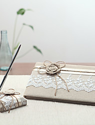cheap -Linen Garden ThemeWithRibbons Guest Book Pen Set Wedding Ceremony