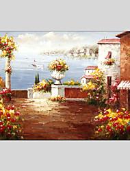 Peint à la main Paysage / Paysages Abstraits Peinture à l'huile + Prints,Classique / Méditerranéen Un Panneau ToilePeinture à l'huile