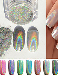 cheap -1g/Box Colorful New Rainbow Shinning Mirror Nail Glitter Powder Perfect Holographic Nails Dust Laser Holo Nails Pigment