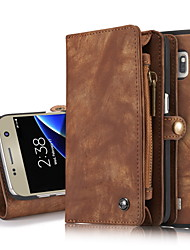 cheap -For Samsung Galaxy S7 edge S7 Case Cover  Genuine Leather Card Holder Wallet Case with Stand Flip Full Body Case Solid Color Hard