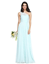 cheap -Sheath / Column One Shoulder Floor Length Lace Bridesmaid Dress with Sash / Ribbon Ruching by LAN TING BRIDE®