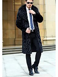 cheap -Men's Casual/Daily Simple Coat,Solid Shirt Collar Long Sleeve Winter Black Faux Fur Medium