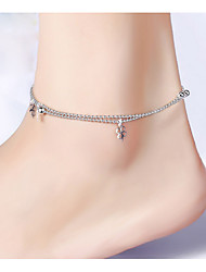 cheap -Sterling Silver Anklet - Women's Silver Love / Fashion / Double-layer Four Leaf Clover Anklet For Party / Daily / Casual
