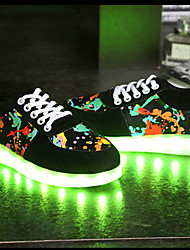 cheap -Unisex Shoes PU Fall Winter Light Up Shoes Comfort Novelty Sneakers Round Toe Lace-up For Casual Outdoor Black