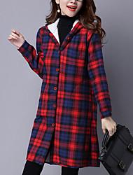 economico -Corto Imbottito Da donna,Cappotto Romantico Casual Monocolore / A quadri Cotone Cotone Manica lunga Con cappuccio Rosso / Verde