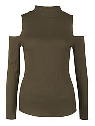 Standard Pullover Da donna-Per uscire Casual Semplice Moda città Tinta unita Rosso Beige Nero Grigio Verde Girocollo Manica lunga