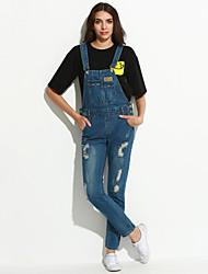 economico -Da donna Romantico Anelastico Jeans Tuta da lavoro Pantaloni,Tinta unita Cotone Poliestere Estate Autunno