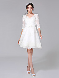 cheap -A-Line V-neck Knee Length Lace Wedding Dress with Appliques Sash / Ribbon Bow Button by LAN TING BRIDE®