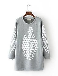 preiswerte -Damen Pullover Lässig/Alltäglich Druck Rundhalsausschnitt Mikro-elastisch Polyester Lange Ärmel Herbst