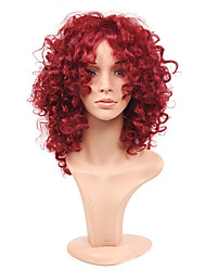 cheap -Cheap Women Synthetic Wigs Fashion Rihanna Charming Kinky Curly Short Wig African American Red Wine