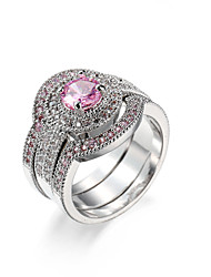 preiswerte -Damen Ring Kubikzirkonia Rosa Zirkon Kubikzirkonia Aleación Europäisch Hochzeit Verlobung Normal Modeschmuck