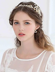 abordables -Perla Artificial Brillante Legierung Tiaras Bandas de cabeza Flores Coronas Cadena para la Cabeza Herramienta para el Cabello Celada