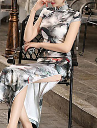 Women's Going out / Formal Vintage / Chinoiserie Tunic Dress,Floral Stand Maxi Short Sleeve Gray Cotton Fall / Winter High Rise