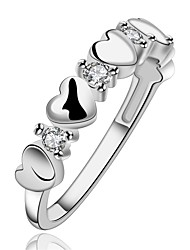 cheap -Women's Ring / Engagement Ring - Zircon, Copper, Silver Plated Heart 7 / 8 Silver For Wedding / Party / Daily