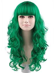 Donna Parrucche sintetiche Lace integrale Lungo Molto lungo Onda morbida Verde 100% capelli kanekalon Attaccatura dei capelli naturale