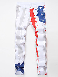 New Youth Fashion White Printed Men Jeans Unique Lighting Running Man Biker Printing Cotton Skinny Jeans Demin Pants