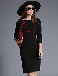 Women's Casual/Daily / Work Sexy / Simple Bodycon Dress,Solid / Embroidered Round Neck Knee-length ¾ Sleeve Black Polyester Fall / Winter