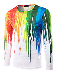 cheap -Men's Daily Casual All Seasons T-shirt,Rainbow Round Neck Long Sleeves Cotton Thin