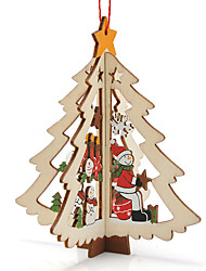 3Pcs XMAS Gift Table Decoration Wood Christmas Snowman With Ornament For X'mas Christmas Snowman Furnishing Articles