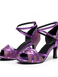 """cheap -Women's Latin Jazz Dance Sneakers Modern Leatherette Sneaker Outdoor Practice Chunky Heel Gold Black Silver Purple 2"""" - 2 3/4"""""""