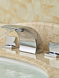 cheap -Modern Widespread Waterfall Ceramic Valve Two Handles Three Holes Chrome, Bathroom Sink Faucet