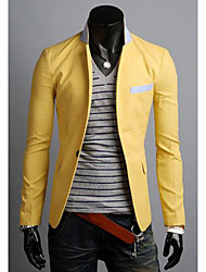abordables -Hombre Simple Casual Diario Primavera Otoño Blazer,Escote Chino Un Color Mangas largas Lino