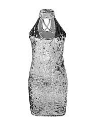 Femme Foulard/Velours/Découpé Moulante Robe Sortie/Soirée Sexy/simple,Couleur Pleine Col Ras du Cou Au dessus du genou Sans Manches Rose/Noir/Gris