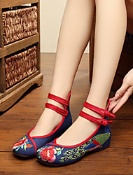 Women's Flats Spring Summer Fall Winter Comfort Espadrilles Fabric Outdoor Casual Flat Heel Buckle Flower Black Blue Red White Walking