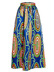 Women's A Line Print Skirts,Going out / Beach Sexy / Boho High Rise Maxi Elasticity Polyester / Spandex Inelastic Summer