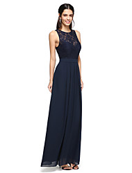 cheap -A-Line Jewel Neck Floor Length Chiffon / Lace Bridesmaid Dress with Sequin / Sash / Ribbon by LAN TING BRIDE® / Beautiful Back / See Through