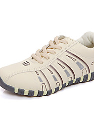 cheap -Women's Shoes PU Spring Fall Comfort Sneakers Flat Heel Round Toe Lace-up for Athletic Casual Beige