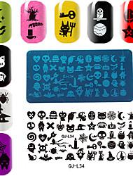 Недорогие -прямоугольная пластина шаблон маникюрный печати серии Хэллоуин
