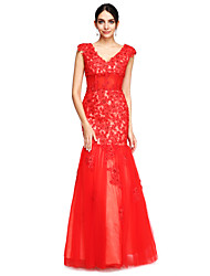 Fit & Flare V-neck Floor Length Tulle Formal Evening Dress with Beading Appliques by TS Couture®