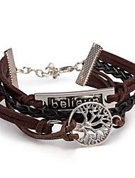 cheap -Men's Women's Leather Bracelet Wrap Bracelet Jewelry Friendship Multi Layer DIY Adjustable Punk PU Alloy Leaf Infinity Jewelry Daily