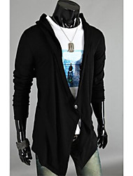 Men's Casual/Daily Simple Long Cardigan,Solid Long Sleeves Cotton Fall Winter Medium Stretchy