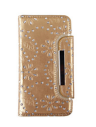 cheap -Case For Samsung Galaxy S8 Plus S8 Card Holder Wallet Rhinestone Full Body Cases Flower Soft Genuine Leather for S8 Plus S8 S7 edge S7 S6