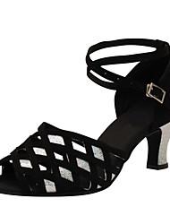 cheap -Women's Latin Jazz Salsa Swing Shoes Flocking Leatherette Sandal Heel Practice Beginner Professional Indoor Performance Buckle Customized