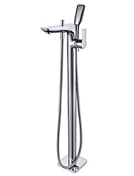 Недорогие -Смеситель для ванны - Современный Хром Установка на полу Керамический клапан / Одной ручкой одно отверстие