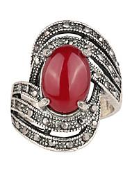 abordables -Homme Femme Bague Noir Rouge Résine Plaqué argent Imitation Diamant Alliage Luxe Mode Européen Mariage Soirée Quotidien Décontracté
