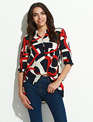 Women's Party/Cocktail Simple Summer Blouse,Print Crew Neck Short Sleeve White Rayon Thin