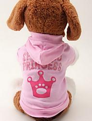 Gato Cachorro Camisola com Capuz Roupas para Cães Fashion Tiaras e Coroas Rosa claro