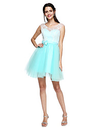 A-Line V-neck Knee Length Chiffon Tulle Bridesmaid Dress with Bow(s) Sash / Ribbon Bandage by LAN TING BRIDE®