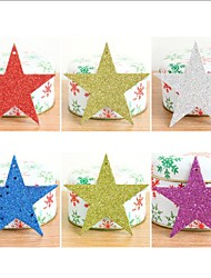 6Pcs/set Christmas Tree Decorative Stars Ornaments Christmas Decorations Paper Glitter Sequins Christmas Star Pentagram Pendant10Cm
