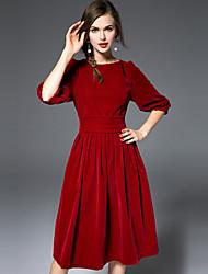 Swing Vestito Da donna-Casual Semplice Tinta unita Rotonda Sopra il ginocchio Mezze maniche Rosso Seta Poliestere AutunnoA vita