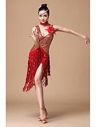 Danse latine Robes Femme Spectacle Polyester 2 Pièces Sans manche Taille haute Robe Tour de Cou