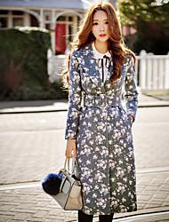 Feminino Casaco Informal / Casual / Férias estilo antigo / Moda de Rua / Sofisticado Outono / Inverno,Floral Cinza Lã / PoliésterLapela