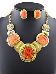 Dame Krystal Mode Europæisk Statement-smykker Bryllup Fest Daglig Afslappet Syntetiske ædelstene 1 Halskæde 1 Par Øreringe